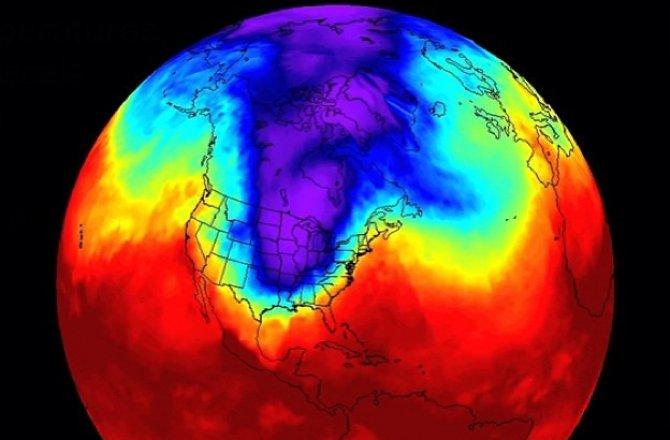 Polar vortex : vague de froid dans l'est des Etats-Unis le 6 janvier 2014 (Source : NASA)
