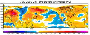 Anomalies de températures en juillet 2010 (source : NASA)