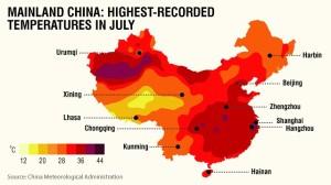 Températures en Chine au mois de juillet 2013