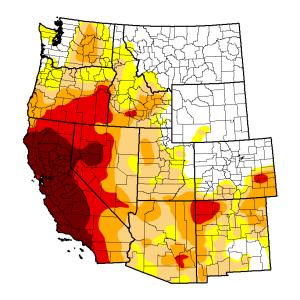 Ouest des Etats-Unis : les zones colorées sont celles concernées par la sécheresse, celles en rouge indiquent une sécheresse extrême (Source : US Drought monitor, 23 septembre 2014)