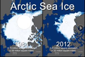 Evolution de l'étendue de la glace de mer arctique entre 1984 et 2012 (source : NASA)