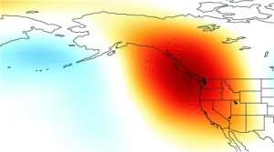 Zone de haute pression en janvier 2014 (source : Daniel Swain)