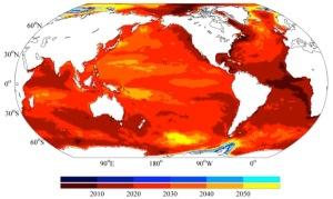 Moment de l'émergence pour l'élévation du niveau de la mer (source : John Church et Xuebin Zhang)