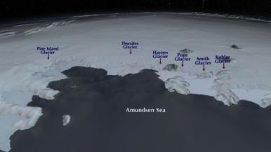 Glaciers de la mer d'Amundsen, région de l'Antarctique de l'Ouest (source : NASA/GSFC/SVS)