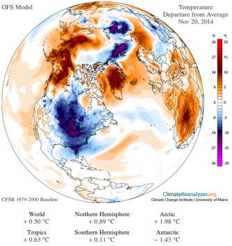 Anomalies de températures pour le 20 novembre 2014 (Source Climate Renalyzer - Université du Maine)