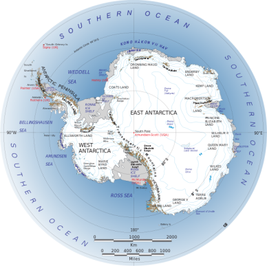 Antarctique (source : Landsat Image Mosaic of Antarctica team - NASA)