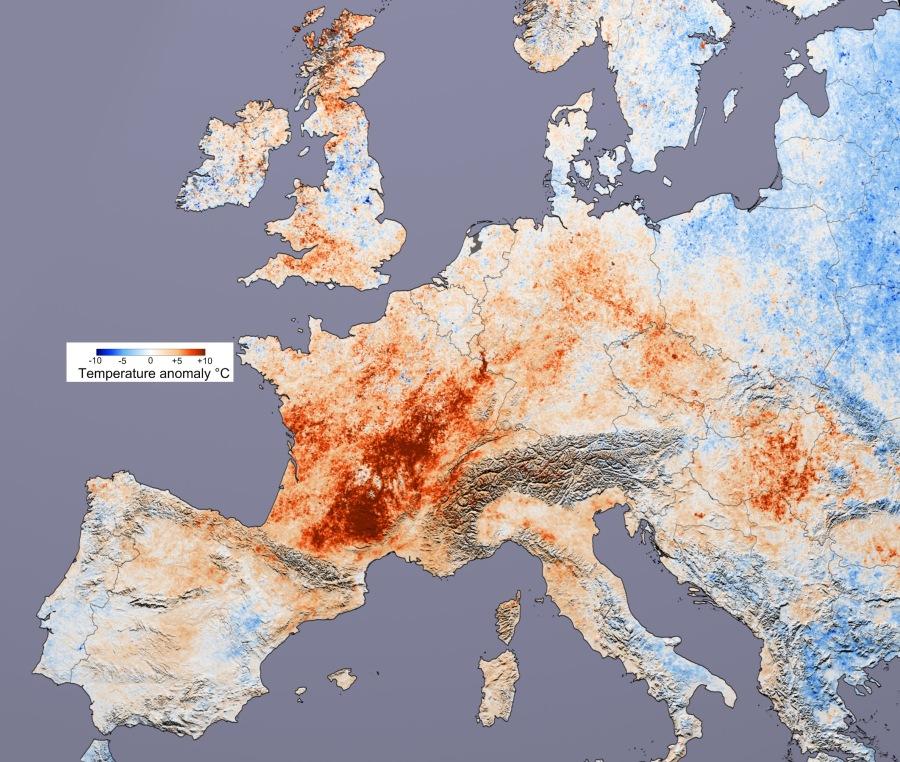 Canicule de 2003 en Europe (source : Reto Stockli et Robert Simmon, basé sur des données MODIS Land Science Team)