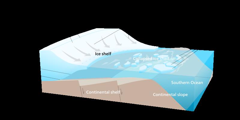 Plateforme de glace Antarctique fonte