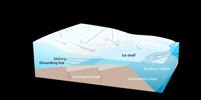 Plateforme de glace telle qu'on en trouve en Antarctique de l'Ouest (Source : Kelvinsong)