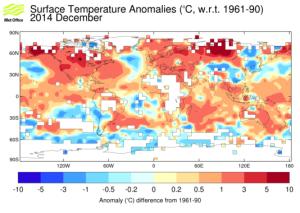 Exemple de la surface couverte par HaCRUT4 : anomalies de températures pour décembre 2014 (Source : Met Office)