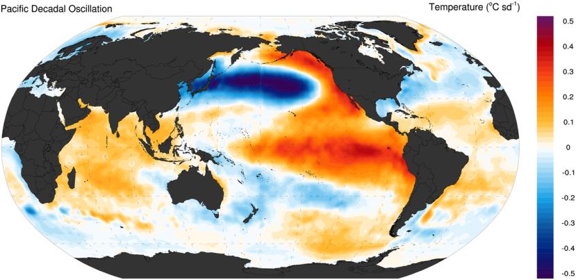 Phase positive de l'Oscillation décennale du Pacifique (PDO). Source : UCAR