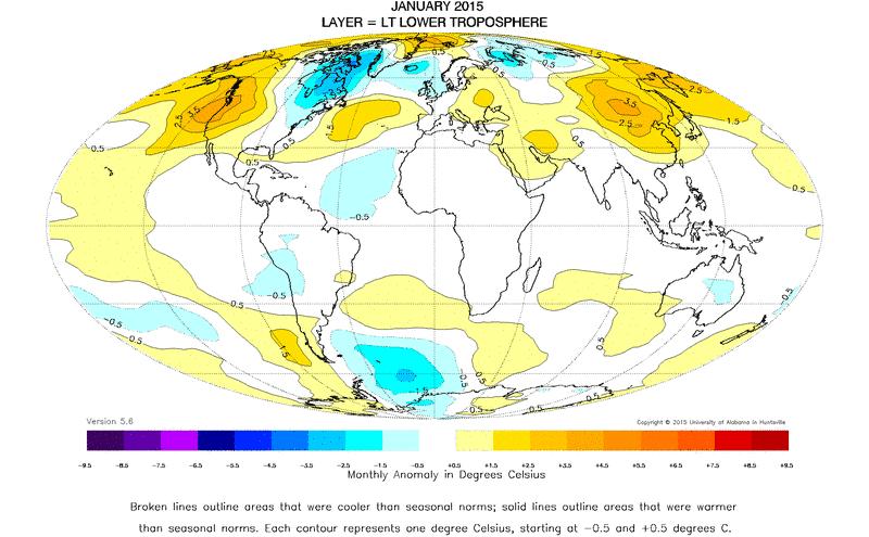 Anomalies de températures dans la basse troposphère en janvier 2015 par rapport à la moyenne 1981-2010 (source : UAH)