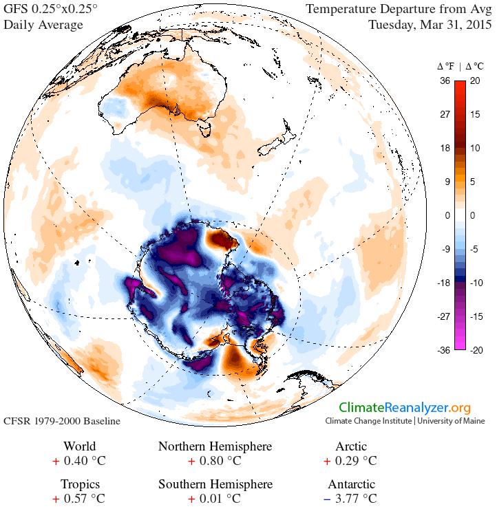 Anomalies de températures en Antarctique le 31 mars 2015 (source : Climate Reanalyzer)