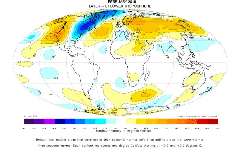 Anomalies de températures pour le mois de février 2015 par rapport à la moyenne 1981-2010 (Source : UAH)