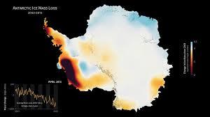 Changements de masse de l'Antarctique entre 2003 et 2013 d'après la mission GRACE (source : NASA)