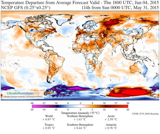 Prévisions d'anomalie de température mondiale pour le 4 juin 2015 (source : NCEP GFS - Climate Reanalyzer)
