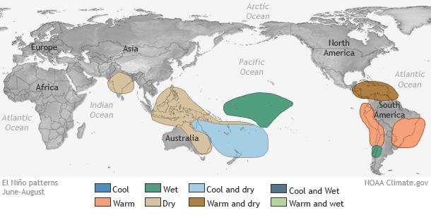 Impacts d'El Niño entre juin et août (Source : NOAA)