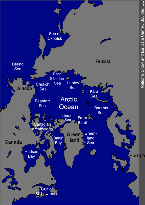 Carte de l'Arctique (source : NSIDC)