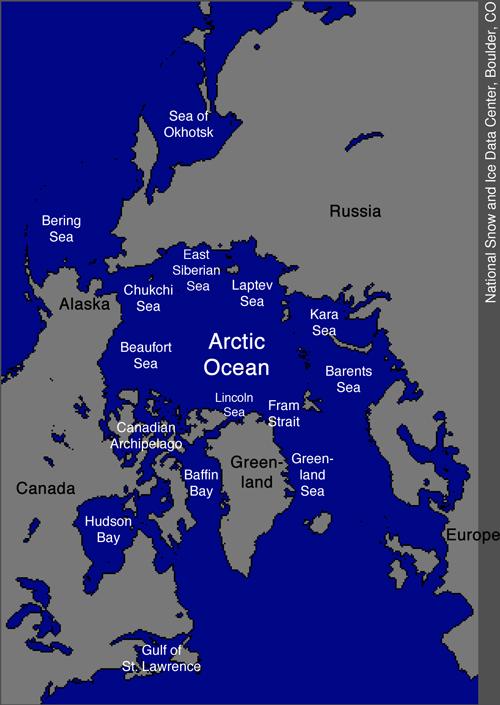 Carte de l'Arctique (source : NSIDC)