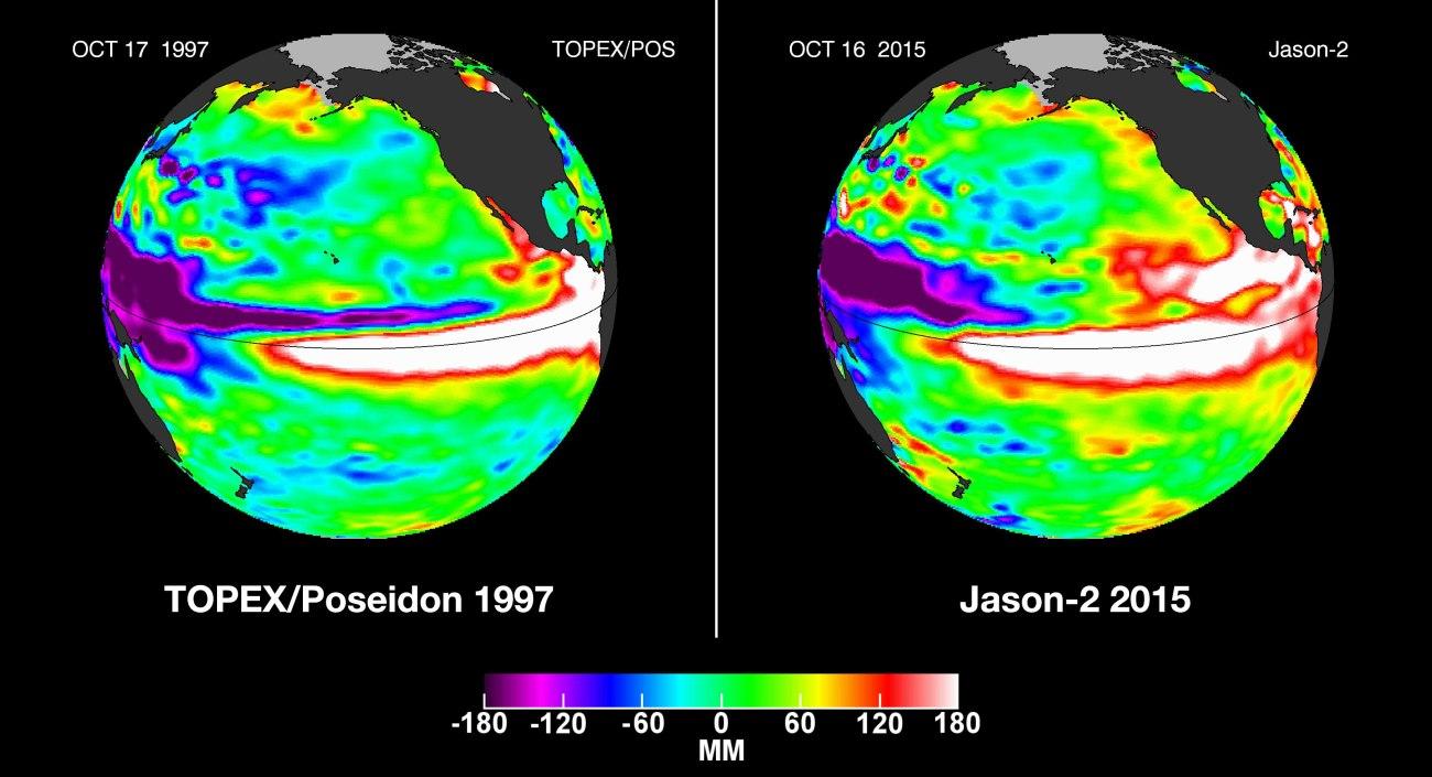 El Niño 1997 comparé à El Niño 2015. Source : NASA