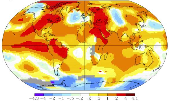 Anomalies de températures en septembre 2015 par rapport à la moyenne 1951-1980. Source : NASA GISS