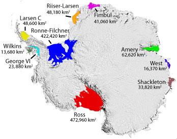 Carte des principales plateformes de glace de l'Antarctique (Filchner-Ronne en bleu). Source : NSIDC, Ted Scambos
