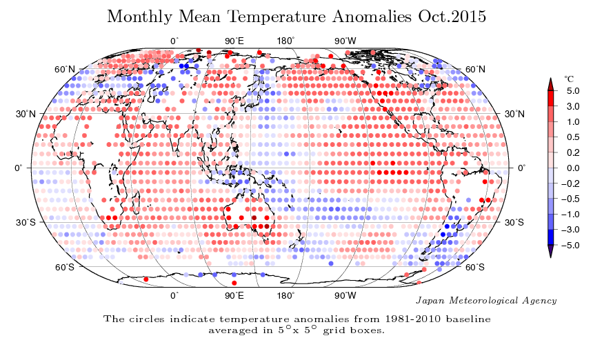 Carte d'anomalies pour le mois d'octobre (base 1981-2010). Source : JMA.