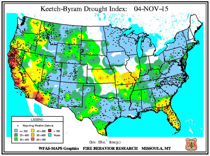 Indice de sécheresse de Keetch-Byram le 4 novembre 2015. Source : USFS - WFAS.