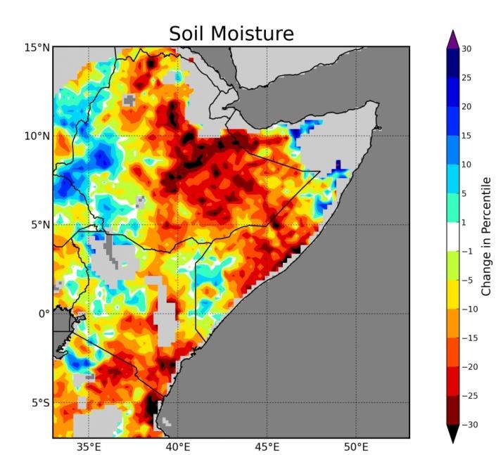 Humidité du sol en Afrique de l'Est : différence entre la période 1999-2014 et 1982-1998. Source : Shraddhanand Shukla, UCSB's CHG.