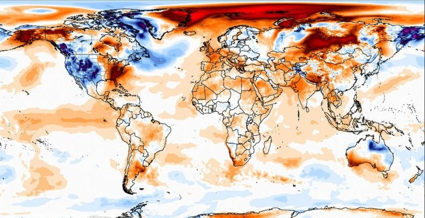 Fin d'année chaude en France, en Europe et dans le monde. Source : Climate Reanalyzer.
