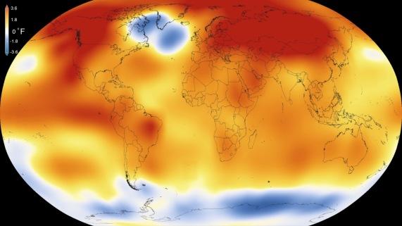 Anomalies de température en 2015. Source : Scientific Visualization Studio/Goddard Space Flight Center.