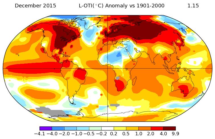 Anomalies de température par rapport à la moyenne du 20è siècle. Source : NASA.