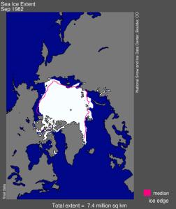 Etendue de la glace de mer en septembre 1982. Source : NSIDC.