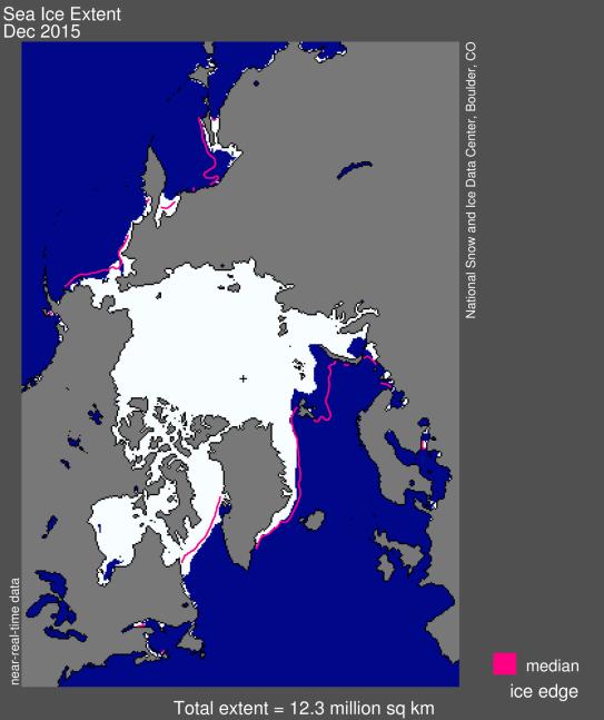 Extension de la glace de mer en décembre 2015. Source : NSIDC.