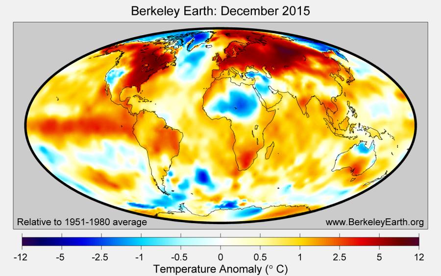 Carte d'anomalies de température pour le mois de décembre 2015. Source : Berkeley Earth.