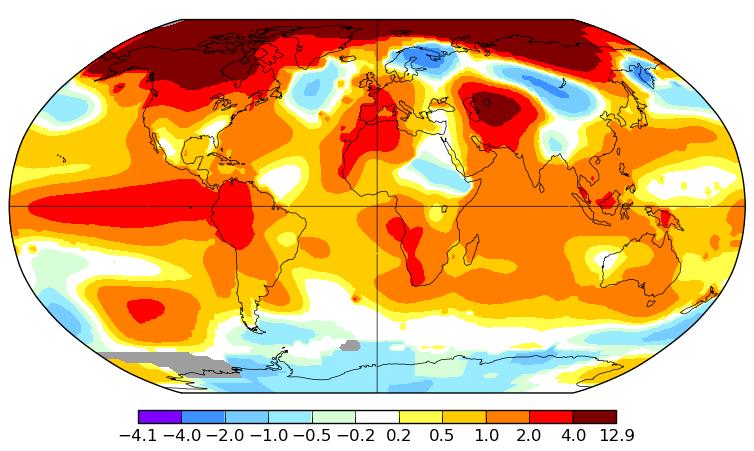 Carte d'anomalies de température pour le mois de janvier 2016. Source : NASA GISS.