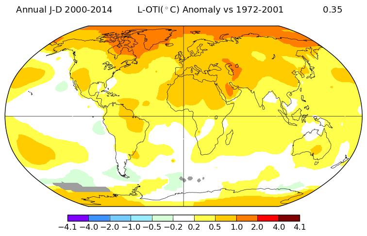 Ecart de température entre la période 2000-2014 et 1972-2001. Source : NASA GISS.