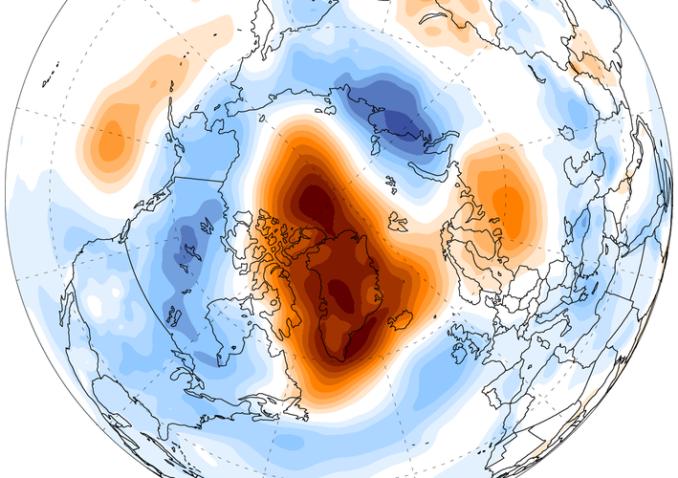 Anomalies de pression atmosphérique (niveau de la mer) en juin-juillet-août 2015 par rapport à JJA 1979-2010 d'après ERA Interim (Source : Climate Reanalizer).