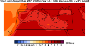 Evolution des températures du bassin méditerranéen en 2081-2100 par rapport à 1951-1980 (scénario RCP 8.5 modèles CMIP5). Source : KNMI.