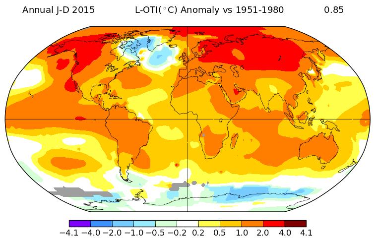 Anomalies de température en 2015 par rapport à la période 1951-1980. Source : NASA GISS.