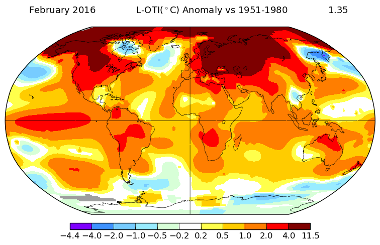 Anomalies de températures en février 2016 par rapport à la moyenne 1951-1980. Source : NASA GISS.