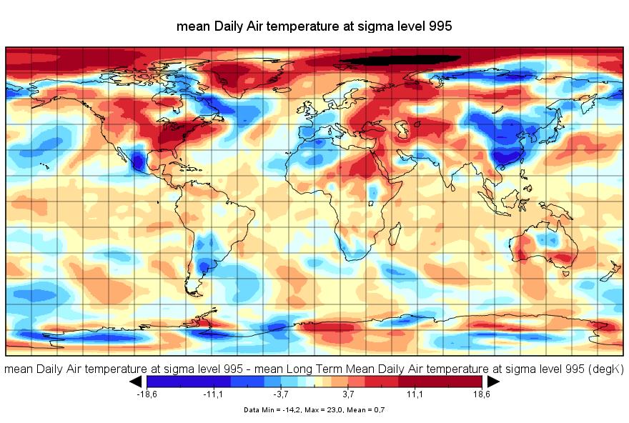 Anomalies de température pour la journée du 10 février 2016. Source : NCEP-NCAR/ESRL.