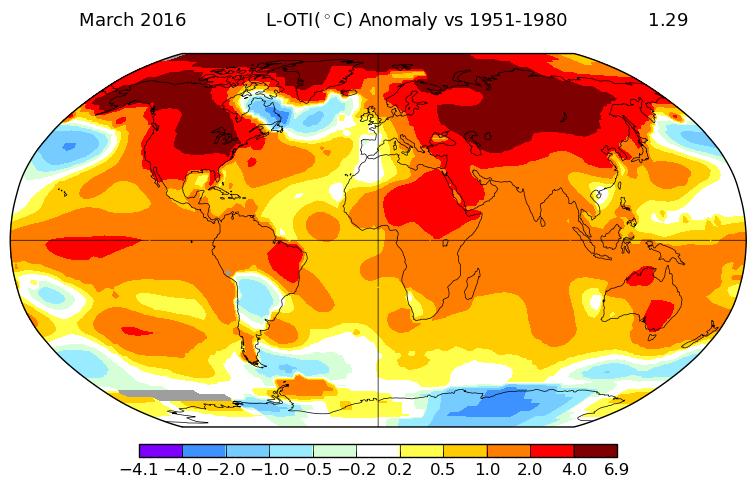 Carte d'anomalies de température par rapport à la période 1951-1980. Source : NASA.