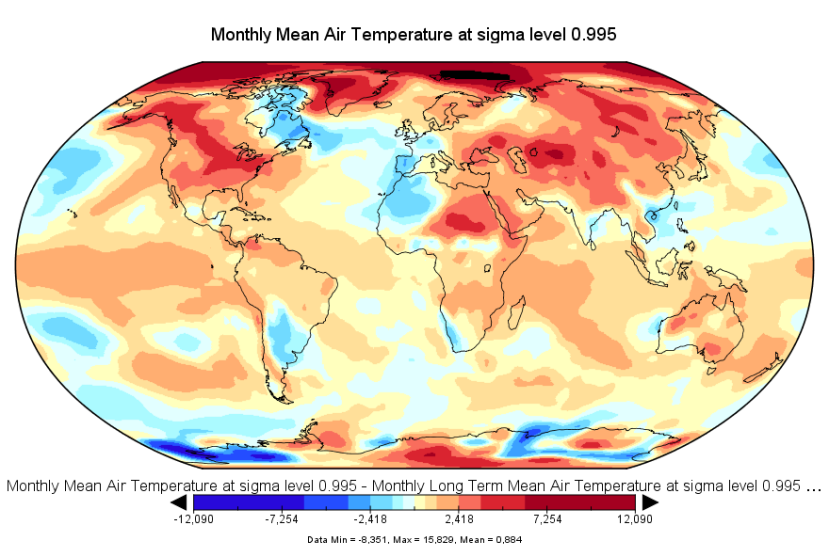 Anomalies de température pour le mois de mars 2016. Source : NCEP-NCAR.