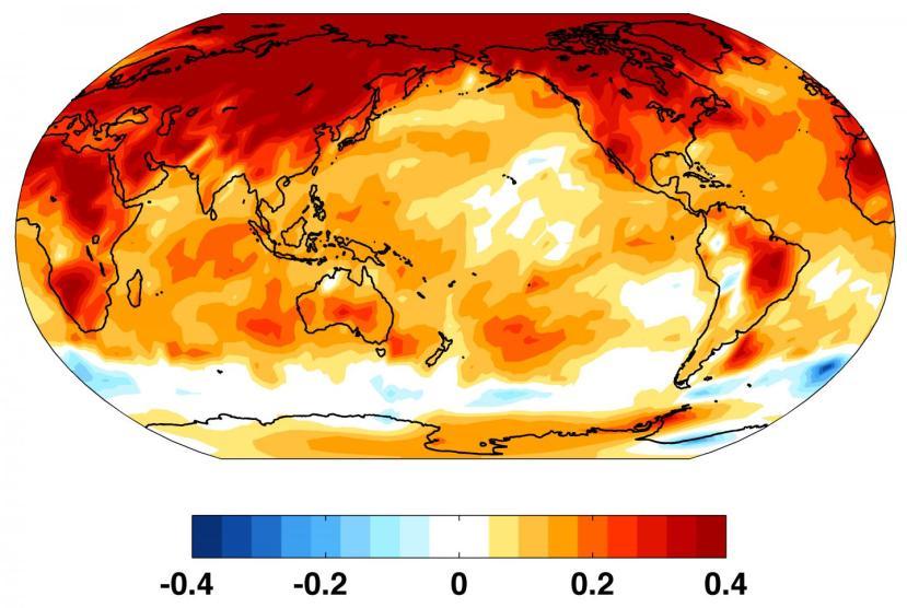 Anomalies de températures ces 50 dernières années. Source : Kyle Armour/University of Washington.