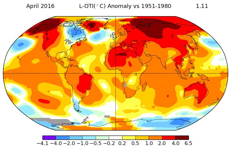 Anomalies de températures au mois d'avril 2016. Source : NASA.