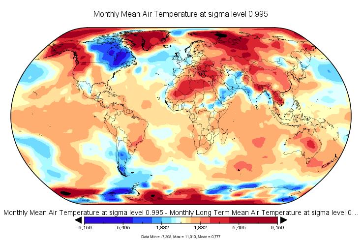 Anomalies de températures en avril 2016. Source : NCEP-NCAR.