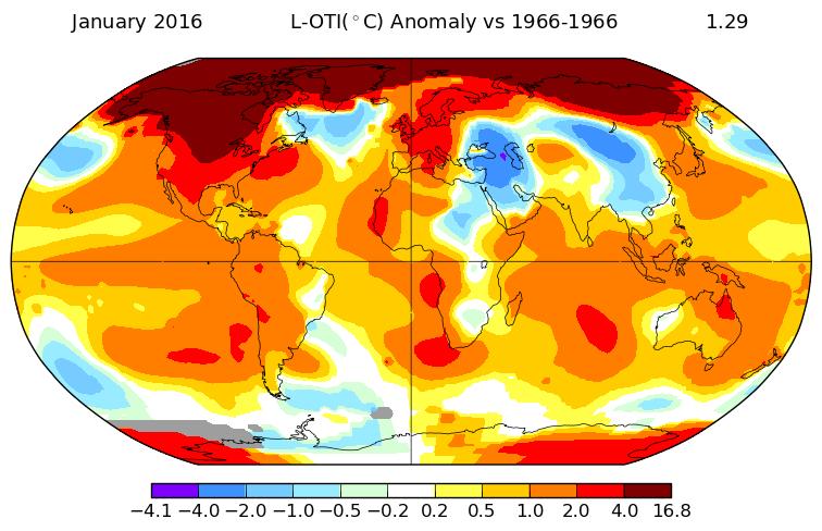 Anomalies de température en janvier 2016 par rapport à janvier 1966. Source : NASA GISS.