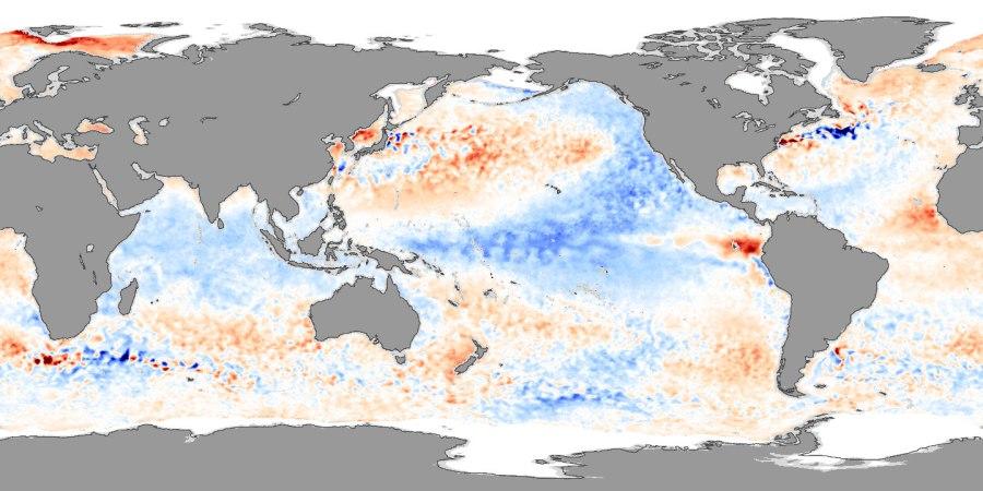 Phase négative de l'oscillation décennale du Pacifique. Source : NASA.