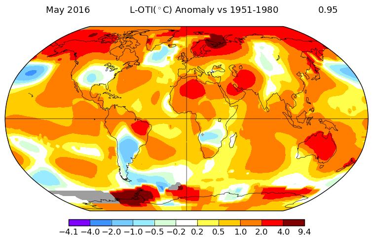 Anomalies de températures au mois de mai 2016. Source : NASA.
